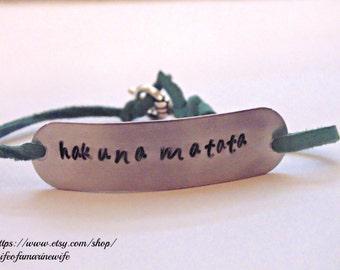 Hand stamped hakuna matata bracelet