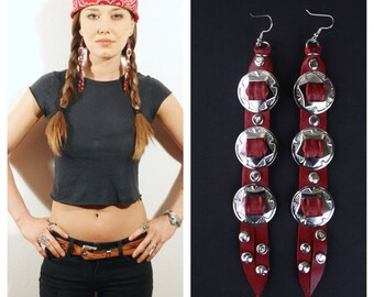 SALE. Ox blood leather. Concho earrings. Concho jewelry. Conchos. Silver conchos. Western conchos. Red leather earrings. Red leather fringe