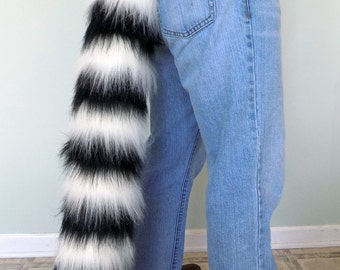 Fluffy Striped Tail - Lemur or Red Panda Style