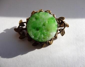 Pin,Antique Peking Glass Gold-Filled Pin
