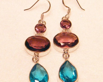 Vintage Amethyst and Topaz Sterling Silver Faceted Dangle Pierced Earrings