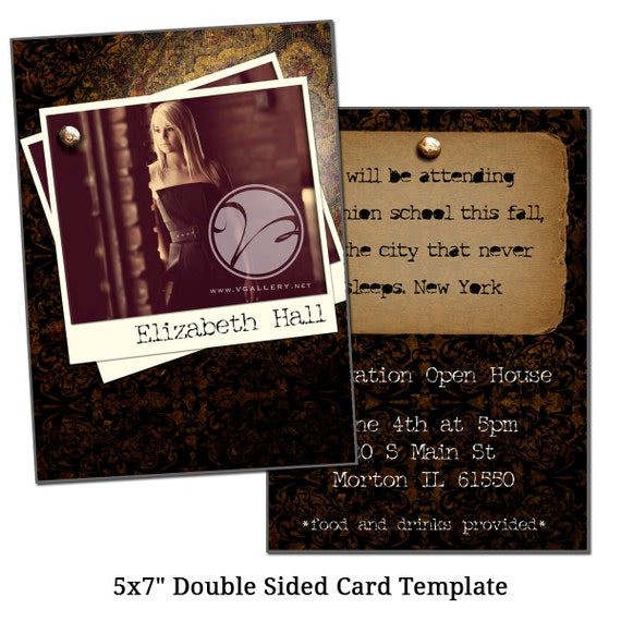 5x7 double sided card template vintage by vgallerydesigns on etsy. Black Bedroom Furniture Sets. Home Design Ideas