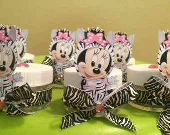 Baby Minnie Mouse Zebra print Baby Shower Party Favors, Baby Shower Favors