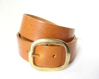 "Tan Leather Belt With Solid Brass Buckle - 1"" 1/2 - Handmade In London - Tan Brass Belt"