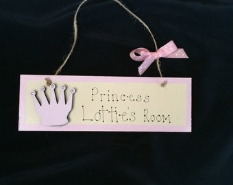 Little Girl's Princess's Room or Door Sign, Handmade and Personalised.  Totally unique to you