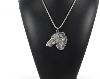 NEW, Borzoi, Russian Wolfhound, dog necklace, silver chain 925, limited edition, ArtDog