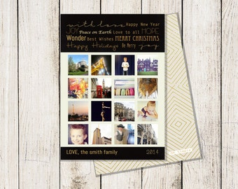 Instagram / Snapshot Holiday Cards: Black & Gold   5 X 7 (Digital File or Printed Cards)