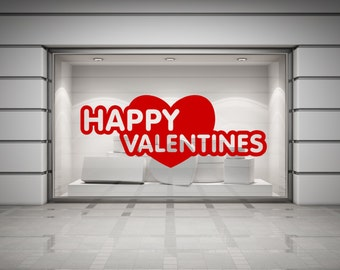 Happy Valentines & Heart Wall/Window Decal Sticker. Any colour and size.