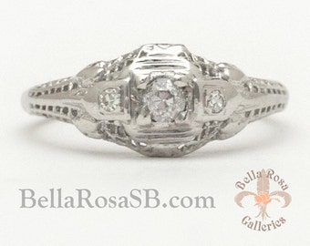 Value Price Old European Diamond Filigree Engagement Ring Art Deco White Gold Antique Vintage Promise Ring On Sale Brick and Mortar Seller