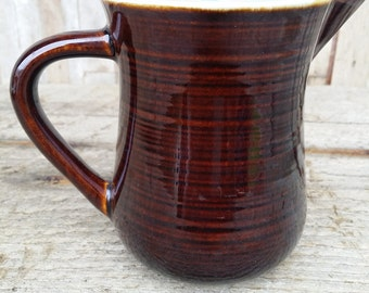 Brown and turquoise vintage ceramic pitcher Country Fare perhaps
