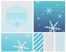 """Frozen Digital Paper: """"FROZEN GLITTER & SNOW"""" Inspired by Disney's Elsa and Anna for Birthday and Party Invitations"""