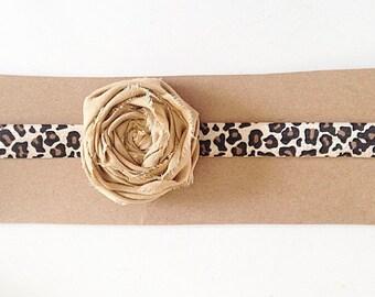 Leopard Headband with Flowers