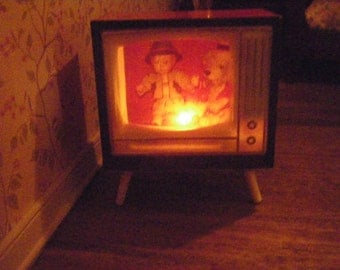 Miniature Dollhouse Lighted Television, TV Set, Electric, Vintage Style, Made in W. Germany