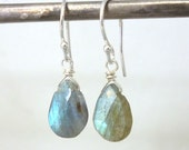 Labradorite Earrings .. Blue Labradorite .. Labradorite and Sterling Silver Earrings .. Labradorite Jewelry .. Handmade Jewelry