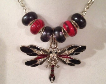 Dragonfly, Red & Black Necklace