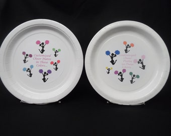 """CHEER/CHEERLEADER Silhouette Cheerleader Personalized/Customized 9"""" or 7"""" Paper Plates"""