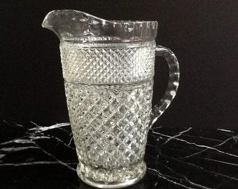 Anchor Hocking Wexford Glass Pitcher, Crisscross Diamonds, Bridal Gift, Wedding Gift