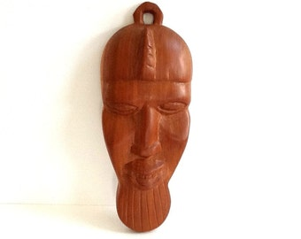 Hand Carved Wooden Tribal Mask, African Wood Mask, Wood Tribal Mask, Wood Wall Decor