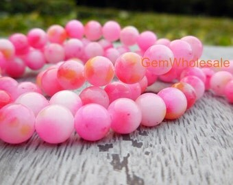 "15.5"" Dyed peach blossom jade 6mm/8mm/10mm/12mm round beads, pink flower color beads, pink gemstone, semi-precious stone, pink dyed jade"
