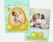 Easter Card Template for Photographers - 5x7 Flat Photo Card - Instant Download