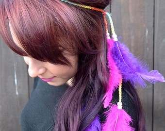 Feather Headband - Pink Purple Feathers - Feather Hairpiece - Festival Headband - Hippie Headband - Hair Accessories - Bohemian - Tribal