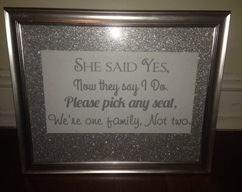 Silver Glitter One Family, Not Two Wedding Sign