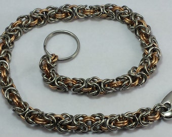 Stainless Steel and Bronze Byzantine Weave Chainmail Wallet Chain