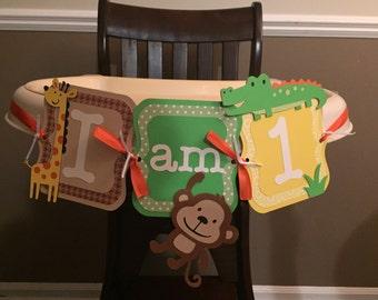 jungle themed first birthday highchair banner, I am one banner, one banner, safari banner