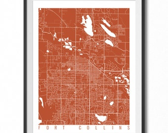 FORT COLLINS Map Art Print / Colorado Poster / Fort Collins Wall Art Decor / Choose Size and Color