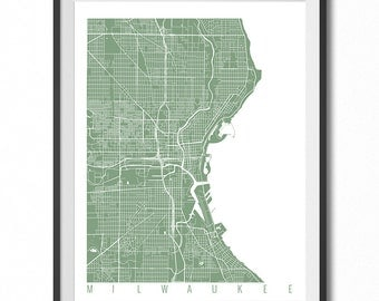 MILWAUKEE Map Art Print / Wisconsin Poster / Milwaukee Wall Art Decor / Choose Size and Color