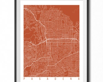PASADENA Map Art Print / California Poster / Pasadena Wall Art Decor / Choose Size and Color