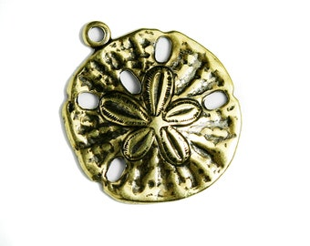 22 Antique Gold Plated Sand Dollar Charms, 15mm  Made in USA, #TB136G