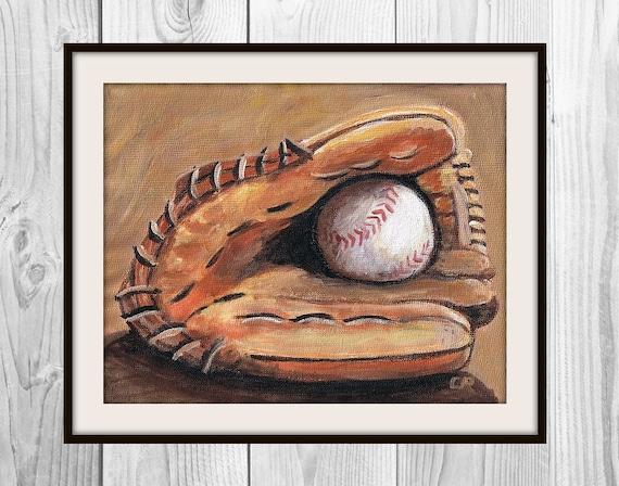 Baseball Glove Paint : Items similar to baseball and glove original painting quot