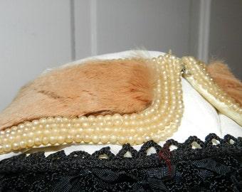 Elegant Beaded Brown Fur Collar, 1950s: Free Shipping