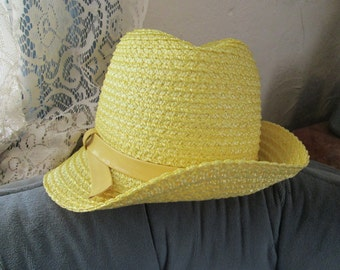 Classic Vintage 1970s Straw Hat, Yellow Bucket, Great for Church or Just Taking A Stroll