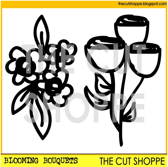 The Blooming Bouquets cut file consists of two hand-drawn flowers, that can be used for your scrapbooking and papercrafting projects.