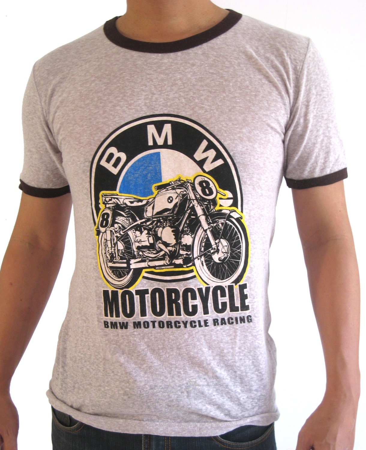 vintage bmw motorcycle t shirt classic design thin fabric
