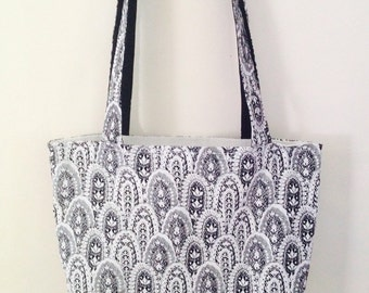 Ladies Designer Black and White Feather Tote Bag - Pouch by Pouchbags