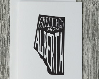 Greetings From Alberta - Letterpress Blank Greeting Card on 100% Cotton Paper