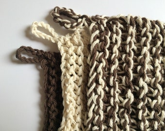DIY Pattern for Hand Knitted Trivet Pot Holders in Beige Brown PDF downloadable file with pattern instructions