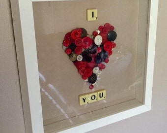 Romantic anniversary gift. Button art 'I love you' scrabble art frame. Ideal anniversary gift. Valentines gift