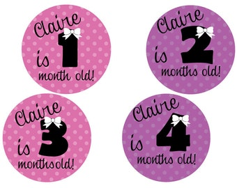 Circle Polka Dot Bow Tie Monthly Milestone Stickers