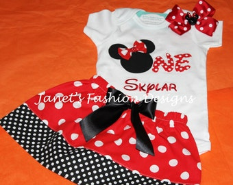 ONE Birthday inspired Minnie with Hairbow Set - Skirt and Tshirt / Onesie with Hairbow Minnie Mouse Outfit - Polka Dots Minnie Birthday ONE