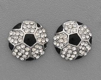 Soccer Rhinestone Post Style Earrings