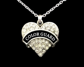Color Guard Rhinestone Heart Necklace