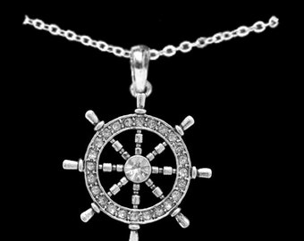 Ship Wheel Nautical Rhinestone Necklace