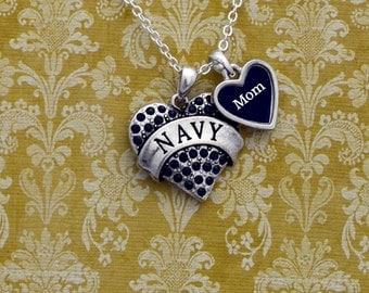 Navy Mom Rhinestone Heart Necklace