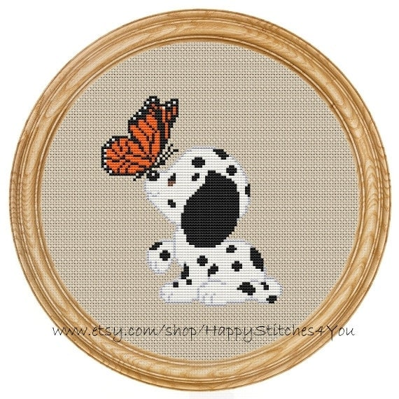 Cross Stitch Pattern PDF dog dalmatian butterfly DD0079