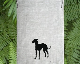 Italian Grey Hound / Whippet Silhouette Hand Screen Printed Pure Linen Tea Towel Free Shipping Australia Wide