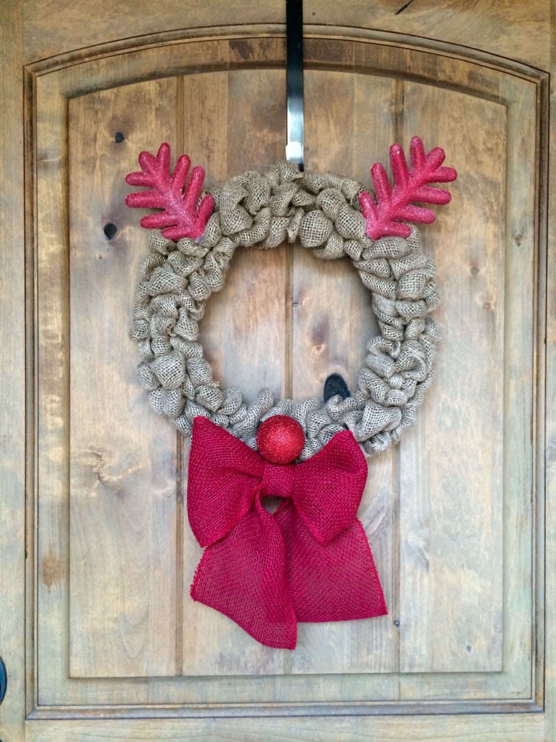 Rudolph Burlap Wreath Red Antlers with Red Nose and Red Burlap Bow Merry Christmas Happy Holidays Santa's Sleigh red nosed reindeer